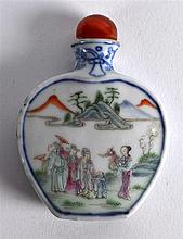 A 19TH CENTURY CHINESE FAMILLE ROSE SNUFF BOTTLE AND STOPPER of flattened f