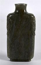 A 19TH CENTURY CHINESE CARVED MUTTON JADE SNUFF BOTTLE AND STOPPER with car