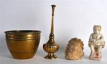 AN EARLY INDIAN CARVED AND GILDED MARBLE HEAD OF A BUDDHA together with ano