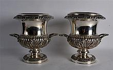A PAIR OF MID 19TH CENTURY OLD SHEFFIELD PLATES WINE COOLERS with acanthus