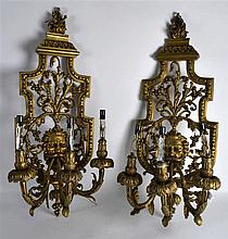 A GOOD PAIR OF ORMOLU CLASSICAL HANGING WALL BRACKETS modelled with a singl