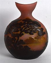 A GOOD FRENCH CAMEO GLASS VASE by Emile Galle, depicting an extensive lands