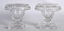 A PAIR OF REGENCY CUT GLASS SALTS with foliate engraving. 3Ins high.