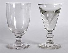 A VICTORIAN PENNY LICK GLASS together with a small rummer. (2)