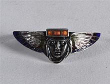 A LOVELY ART DECO SILVER AND ENAMEL NECK TIE in the form of a female mask h