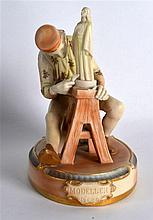 A RARE ROYAL WORCESTER FIGURE OF THE MODELLER C1901. 6Ins wide.