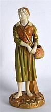 A ROYAL WORCESTER FIGURE OF THE FRENCH FISHERGIRL C1916. 8Ins high.