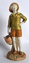 A ROYAL WORCESTER FIGURE OF THE FRENCH FISHERBOY C1917. 8Ins high.