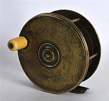 AN ANTIQUE SCOTTISH FISHING REEL stamped J Graham & Co Inverness. 4.5ins di