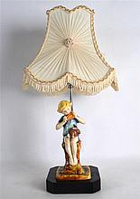 A ROYAL WORCESTER FIGURE OF PETER PAN by F Gertner, converted to a lamp. Fi