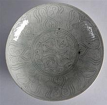 A Fine Safavid pale glazed saucerdish, 17th Century, Persian, incised with