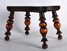 A LOVELY ANTIQUE LIGNUM VITAE MINIATURE TREEN STOOL supported upon four bob