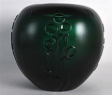 A LOVELY ART DECO GREEN GLASS BULBOUS VASE by Kosta C1935, decorated with s