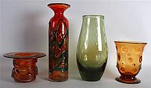 A WEBB ART GLASS VASE together with three others. Largest 11.75ins high. (4