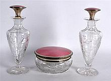 A PAIR OF EARLY 20TH CENTURY CONTINENTAL CUT GLASS AND ENAMEL SCENT BOTTLES