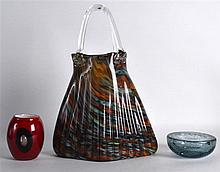 A VINTAGE MURANO ART GLASS BASKET together with a red vase & an ashtray. (3