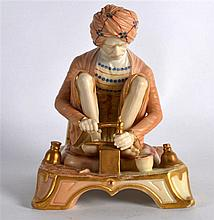 A RARE ROYAL WORCESTER FIGURE OF AN INDIAN CRAFTSMAN C1907 shape 1204. 5.25