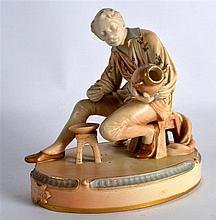 A RARE ROYAL WORCESTER FIGURE OF THE DECORATOR C1902 modelled holding a vas