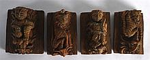 A GROUP OF FOUR 17TH/18TH CENTURY INDIAN CARVED WOODEN TEMPLE PANELS each c