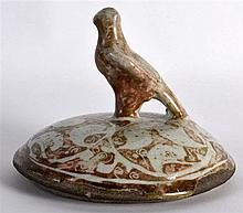 12th/13th Century Persian Lustre Style Lid with bird finial, painted with m
