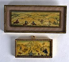 AN EARLY 20TH CENTURY FRAMED PERSIAN IVORY PANEL together with another smal