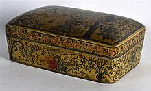 A GOOD EARLY 20TH CENTURY INDIAN KASHMIR LACQUER DOME TOP BOX AND COVER pai
