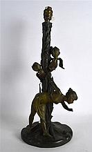 AN ART NOUVEAU COLD PAINTED SPELTER FIGURAL LAMP converted to a lamp, model
