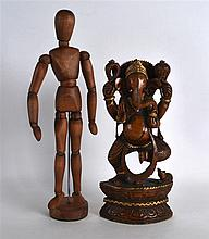 AN INDIAN CARVED WOOD FIGURE OF GANESH together with an articulated wooden