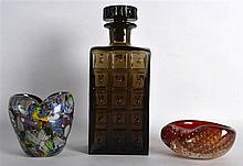 A STYLISH WHITEFRIARS DECANTER AND STOPPER together with two pieces of art