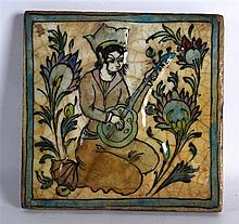 A PERSIAN SQUARE FORM POTTERY TILE painted with a female musician within a