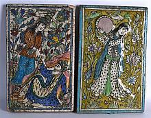A PAIR OF PERSIAN PORTRAIT/FIGURAL TILES painted with figures within landsc