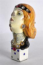 AN UNUSUAL RETRO POTTERY JEWELLED BUST OF A FEMALE signed Salvini. 4Ins hig
