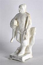 A RARE EARLY 20TH CENTURY CONTINENTAL PORCELAIN FIGURE OF AN EXPLORER model
