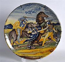 A GOOD 18TH/19TH CENTURY EUROPEAN FAIENCE MAJOLICA CIRCULAR CHARGER painted