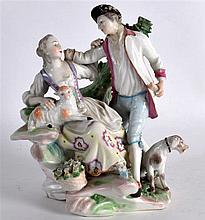 AN 18TH CENTURY ENGLISH PORCELAIN FIGURAL GROUP depicting a male and female