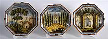 A SET OF THREE 18TH/19TH CENTURY FAIENCE MAJOLICA TYPE OCTAGONAL DISHES pai