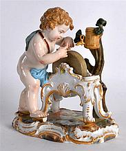 A 19TH CENTURY MEISSEN PORCELAIN FIGURE OF A YOUNG PUTTI modelled beside a