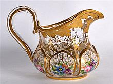 A LOVELY EARLY 20TH CENTURY BOHEMIAN CLEAR AND WHITE ENAMEL GLASS JUG paint