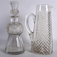 AN UNUSUAL REGENCY HOB NAIL CUT DECANTER AND STOPPER with reverse able tast