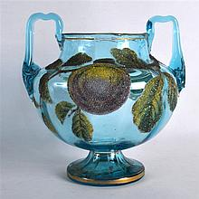 AN UNUSUAL TWIN HANDLED BOHEMIAN BLUE GLASS VASE decorated with jewelled fr