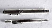 AN ENGLISH HALLMARKED SILVER FOUNTAIN PEN together with another hallmarked