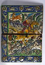 A PAIR OF PERSIAN RECTANGULAR TILES part of a four section panel, depicting
