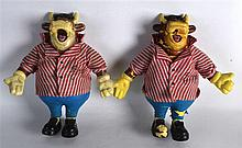 A PAIR OF BULLSEYE GAME BULLY FIGURES presented on the show by Jim Bowen.