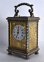 A FINE LATE 19TH CENTURY FRENCH REPEATER CARRIAGE CLOCK with unusual impres
