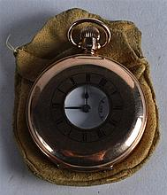 AN ANTIQUE 9CT YELLOW GOLD HALF HUNTER POCKET WATCH with white enamel dial