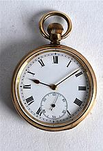AN ANTIQUE YELLOW METAL GENTLEMANS POCKET WATCH with white enamel dial and