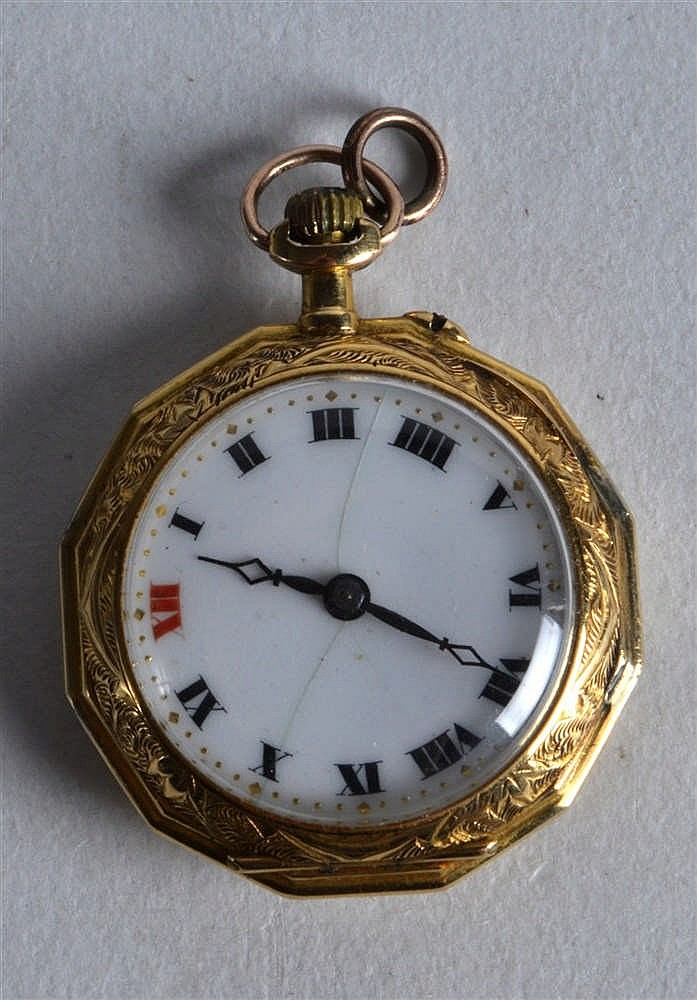 an edwardian 18ct yellow gold octagonal fob the revers