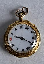 AN EDWARDIAN 18CT YELLOW GOLD OCTAGONAL FOB WATCH the reverse painted with