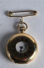 AN EDWARDIAN 18CT YELLOW GOLD FOB WATCH with white enamel dial. 1Ins diamet