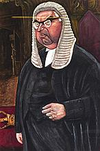 A FRAMED PRINT OF A WELL FED JUDGE,